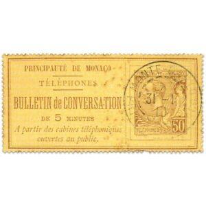 MONACO TIMBRE-TÉLÉPHONE N°1, TIMBRE OBLITÉRÉ ET SIGNÉ-1886