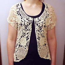 Beige Cotton Pretty Crochet Hollow Open Vest Cardigan Top Waistcoat Women CT3