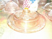 Vintage Pink Depression Glass Round Butter/cheese Dish W/Original Lid