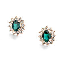 ITALINA 18K ROSE GOLD PLATED EMERALD GREEN CZ/AUSTRIAN CRYSTAL CLIP-ON EARRINGS