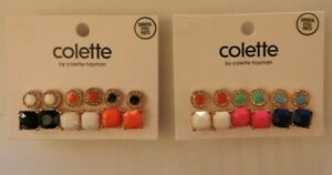 Colette Rhinestone Colour Circle Square 6 pair Earring Set