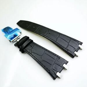 27mm Black Leather Folding Strap for AP Royal Oak 15400 15300 AudemarsPiguet