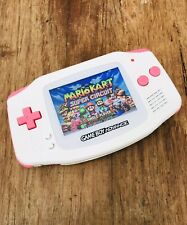 Nintendo Gameboy Advance GBA Pink White Handheld Gaming Console BACKLIT IPS 2