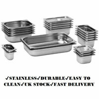 6x Kitchen Stainless Steel Container Gastronorm Gastro Pans Tray Lids Available