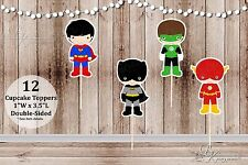 Set of 12 Assorted Boy Action Superhero Inspired Double Sided Cupcake Toppers