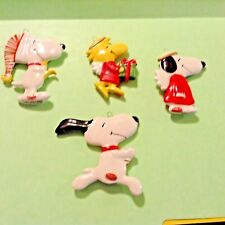 Vintage Snoopy Dog Peanuts Ornament 4 Lot Woodstock Angel Flat Japan Ceramic Hat