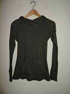 ATHLETA Sweatshirt Top Hooded Front Pockets  Size S Cotton Blend