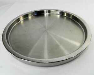 """William Sonoma Silver  Stainless Steel Raised Edge Round Serving Bar Tray 12"""""""