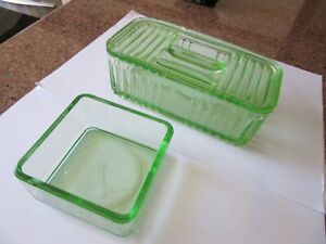 ANTIQUE/VINTAGE GREEN DEPRESSION GLASS BREAD/BUTTER STORAGE CONTAINERS.