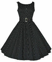 Ladies 1950's Vintage Style Black Polka Dot Button Detail Swing Dress New 8 - 18