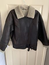 VINTAGE MEN'S FLYING JACKET brown sheepskin with cream interior