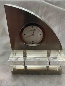 Seiko Crystal & Stainless Steel Sailboat Desk Clock Mantel Clock
