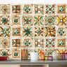 Pack of 16 Vintage Tile Stickers Wall Kitchen Bathroom Floor Decor Vinyl Decal