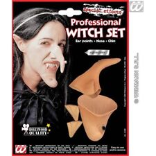 Halloween Witch Nose, Chin & Ear Set - Ladies Prof Ears Nose Accessory Fancy