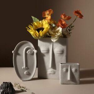 Ceramic Vase Home Decor Flower Human Face Sculpture Design Luxury Pot Dried Room