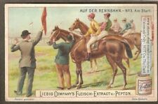 Horses And Jockeys Lined Up For The Start c1910 Trade Ad Card