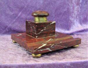Alte Schreibgarnitur roter Marmor Empire Biedermeier 1820 - 1830 vergoldet