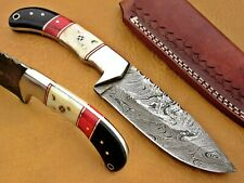 CUSTOM HANDMADE DAMASCUS STEEL RARE HUNTING KNIFE WITH SHEATH EVERYDAY CARRY