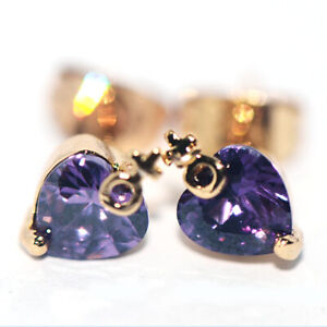 Purple Love Heart Crystal Stud Earrings Gold Earings Jewelry for Womens Ladies