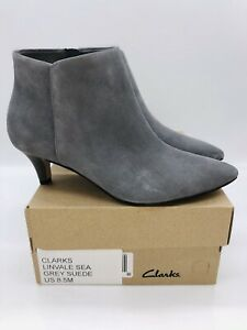 Clarks Women Linvale Sea Pointed Toe Heeled Booties Grey Suede US 8.5M EUR 39.5