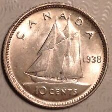 1938 Canada George VI Ten 10 Cents  Choice AU Almost Uncirculated