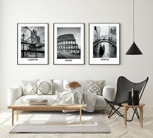 Set of 3 Framed Prints Posters City Black White London Rome Venice Wall Art A3