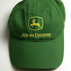 John Deere Men's Baseball Cap Hat One Size Green Yellow Strap Back Buckle Logo