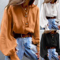 Women Puff Sleeve O Neck Casual Loose Solid Cotton Shirt Tee Top Blouse Pullover