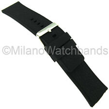 28mm Trendy Pitch Black Textured Rubber Silicone Waterproof Watch Band