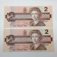 1986 2 Consecutive Canada 2 Two Dollar BBM Prefix UNC Canadian Banknote C886
