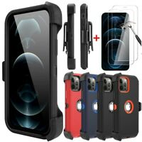 For iPhone 12 Pro Max/12 Pro/12 Case Cover+Belt Clip Holster+Tempered Protector