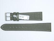 "FLUCO Genuine Vintage Leather Watch Band Strap 20 mm Green ""Montana-Ziege"""