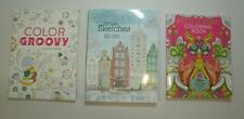 LOT of 3 ADULT COLORING BOOKS: Tula Pink / Color Groovy / Urban Sketches