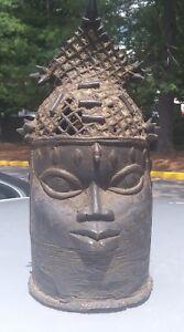 Antique replica African art Benin Bronze African helmet Mask  from Nigeria