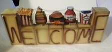 WELCOME Retro hamburger soda fries ketchup country kitchen decor shelf wood sign