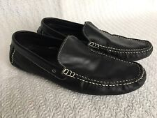 Joseph Abboud Black Leather Driving Moccasins Loafers Slip On Shoes Size 9 Mens