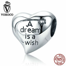 VOROCO Heart Shape Wishing Star Charm Beads 925 Sterling Silver With High Polish