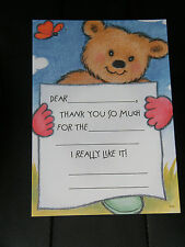 9 THANK YOU CARDS Brown Bear BEARY MUCH POST CARD & BEAR STICKERS Lot of  9 NEW!