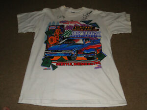 NHRA 1996 EVENT T SHIRT AUTOGRAPHED BY DRIVERS BACK IN THE DAY REALLY NEAT