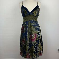 Hale Bob Dress M Womens Boho Silk Velvet Spaghetti Strap Mini Lined Blue Green