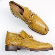 Mauri Italy Mustard Alligator Crocodile Loafers Slip On Suit Dress Shoes 8.5