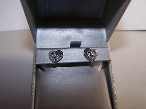 NEW ZALE'S JEWELERS JWBR BLACK & WHITE DIAMOND OPEN HEART STERLING POST EARRINGS