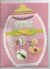 Carte Félicitations Naissance.Fille. Rose.gros biberon.18,5 cm x 13 cm.