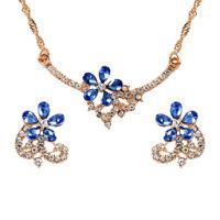 Luxury Flower Rhinestone Crystal Jewelry Set Fashion Earring Necklace Chain