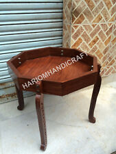 """18""""H 12"""" Dia Wooden Base Table Top Stand Hand Carved Interior Furniture E572(1)"""