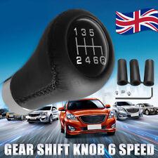6 Speed 16mm Universal Car Manual Gear Shift Shifter Knob Leather Aluminum