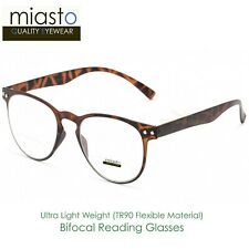 MIASTO ROUND PREPPY READER READING GLASSES+2.50 LIGHT & FLEXIBLE (BIFOCAL) BROWN