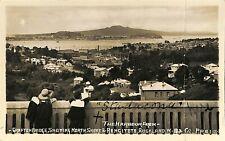Postcard New Zealand N.Z. Auckland Gafton bridge, North Shore Rangitoto