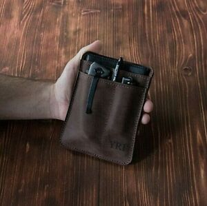 Personalized leather EDC pocket organizer, Everyday carry leather organizer, EDC