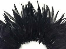 Black Rooster Saddle Hackle Strung Feathers    US Seller